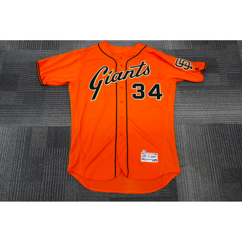 Photo of San Francisco Giants - 2017 Game-Used Orange Alt Jersey - worn by #34 Chris Stratton on 9/29/17 - 6.2 IP, 7H, 7 K's, 0 ER, WIN - (Size: 48)