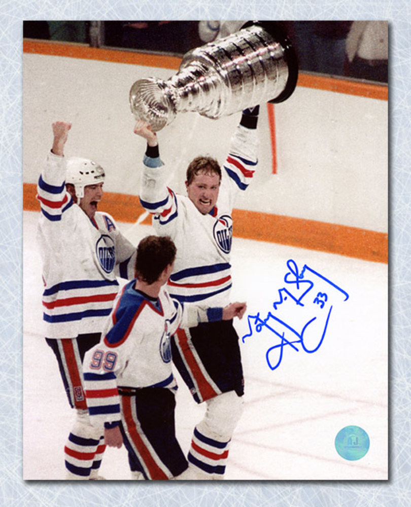 Marty McSorley Edmonton Oilers Autographed Stanley Cup 8x10 Photo