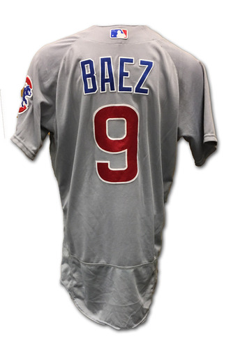 Photo of Javier Baez Game-Used Jersey -- Baez 1 for 4, 1 RBI -- Cubs at Reds -- 10/1/16 -- Cubs World Championship 2016 Season
