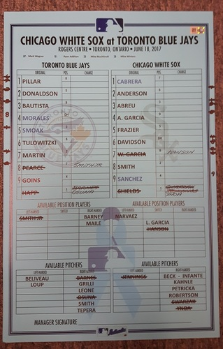 Photo of Authenticated Game Used Father's Day Lineup Card - June 18, 2017 vs Chicago White Sox