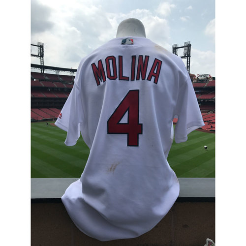 Photo of Cardinals Authentics: Yadier Molina Game-Used Home White Jersey *Grand Slam Jersey*