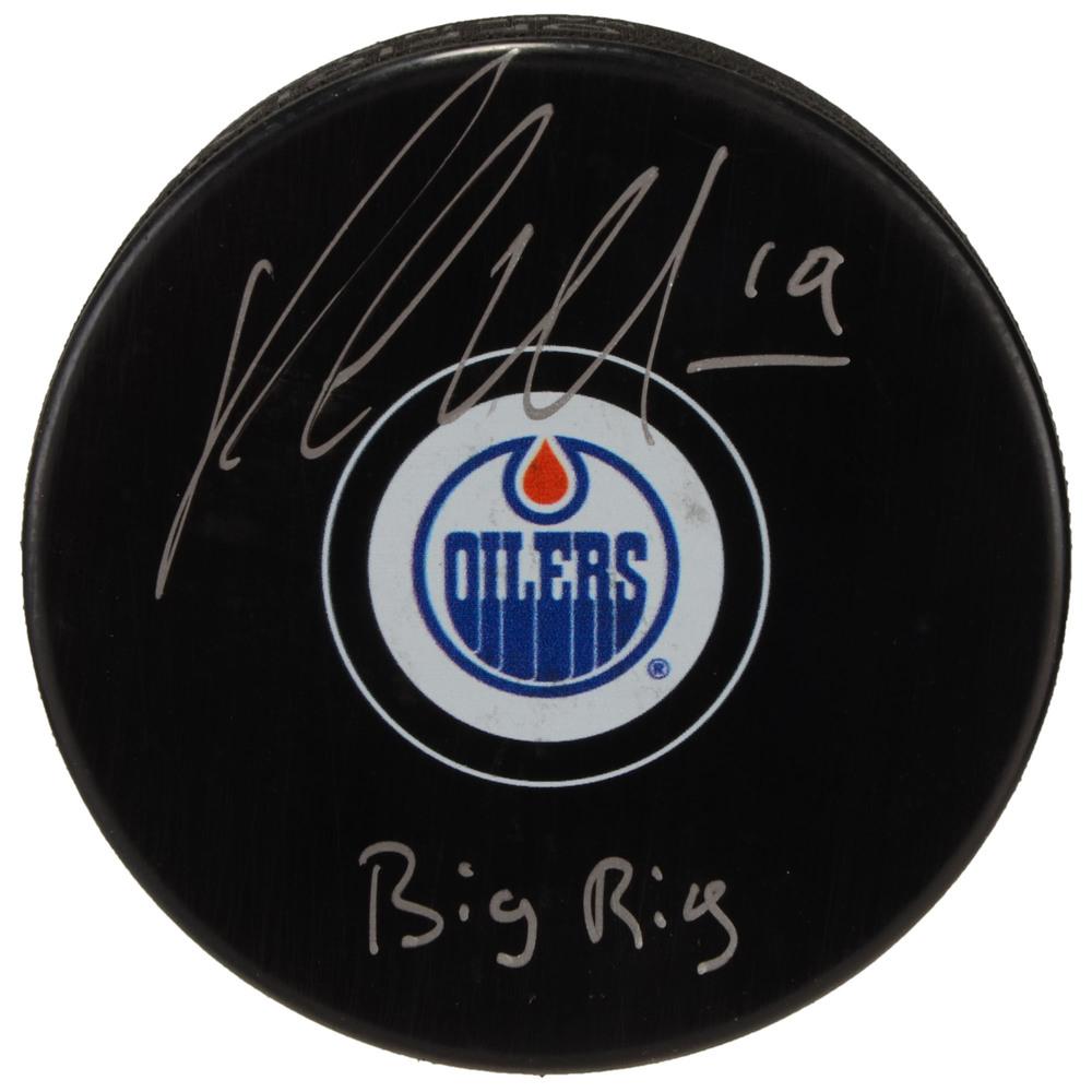 Patrick Maroon Edmonton Oilers Autographed Hockey Puck with Big Rig Inscription