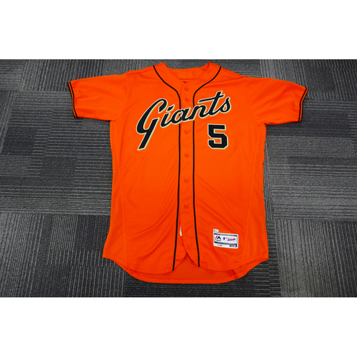 Photo of San Francisco Giants - 2017 Game-Used Orange Alt Jersey- worn by #5 Nick Hundley on 9/29/17 - (Size: 46)