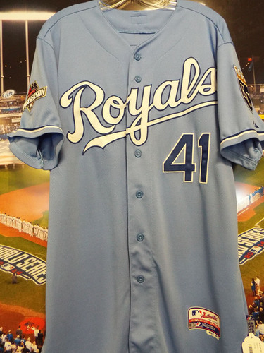 Photo of Club Issued Danny Duffy Powder Blue 2015 Postseason Jersey