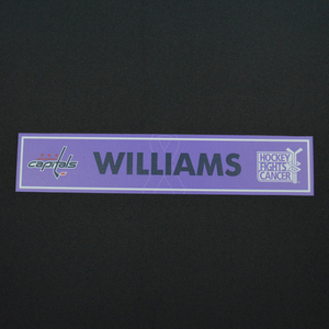 Justin Williams - Washington Capitals - 2015-16 Hockey Fights Cancer Locker Room Nameplate
