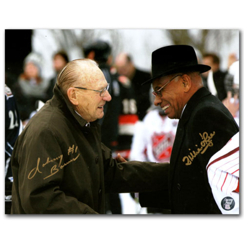 Johnny Bower & Willie O'Ree Autographed 2012 All-Star Game 8X10 Photo (Toronto Maple Leafs, Boston Bruins)