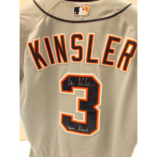 Photo of Game-Used Autographed Ian Kinsler Road Jersey