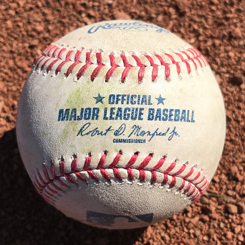 Photo of San Francisco Giants - Game-Used Baseball from Christian Arroyo's MLB Debut Game against the Dodgers on April 24th, 2017