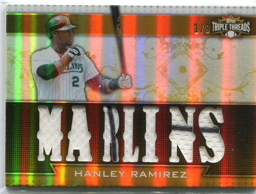 Photo of 2011 Topps Triple Threads Relics Gold #TTR61 Hanley Ramirez 1/9 -- Red Sox post-season