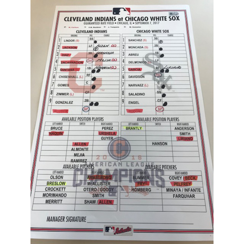 Photo of Game-Used Lineup Card: Indians Win 15th Consecutive Game, Set Franchise Record (9/7/17)