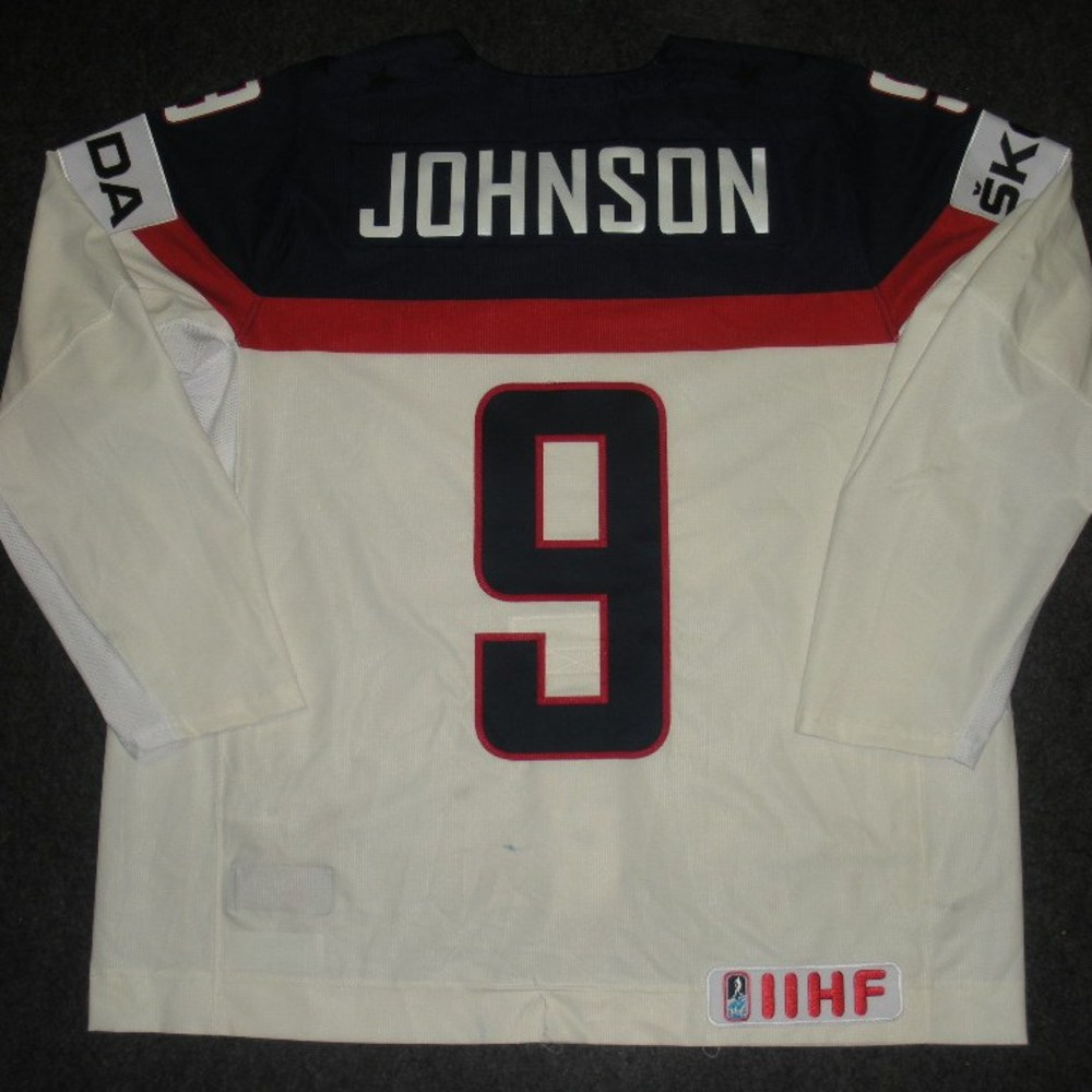 Tyler Johnson - 2014 IIHF Mens World Championship - Team USA White Game-Worn Jersey - Worn on 5/9/14, 5/15/14 and 5/20/14