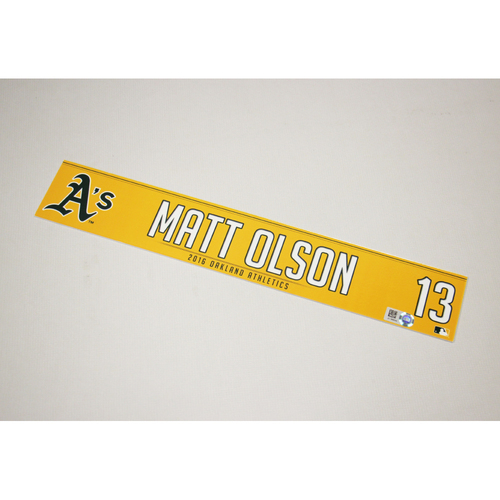 Matt Olson 2016 Team-Issued Home Clubhouse Locker Nameplate