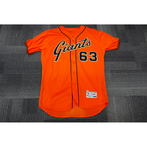 Photo of San Francisco Giants - 2017 Game-Used Orange Alt Jersey - worn by #63 Ryder Jones on 9/29/17 - (Size: 48)