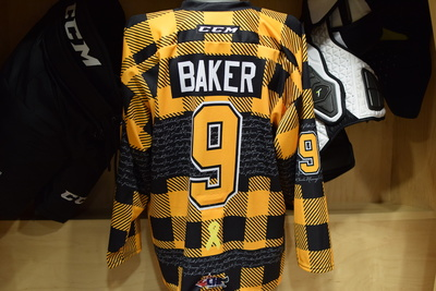 #9 Dawson Baker Game Issued Kingston Frontenacs Hockey Fights Cancer Plaid Jersey