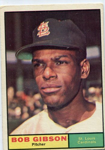 Photo of 1961 Topps #211 Bob Gibson -- Cardinals Hall of Famer