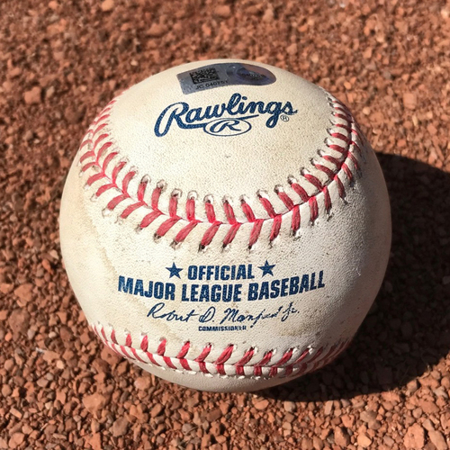 San Francisco Giants - Game-Used Baseball from Christian Arroyo's 1st Hit Game - B3 Clayton Kershaw to Christian Arroyo - Strikeout swinging