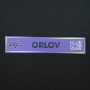 Dmitry Orlov - Washington Capitals - 2015-16 Hockey Fights Cancer Locker Room Nameplate