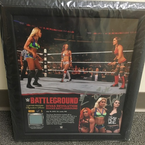 Photo of Charlotte, Becky Lynch, & Paige SIGNED Battleground 2015 Ring Canvas Plaque