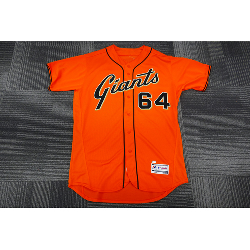 Photo of San Francisco Giants - 2017 Game-Used Orange Alt Jersey - worn by #64 Derek Law on 9/29/17  - (Size: 48)