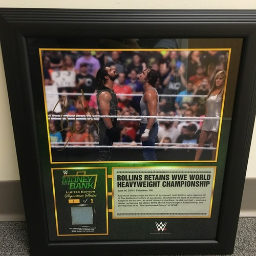 Photo of Seth Rollins SIGNED Money in the Bank 2015 Ring Canvas Plaque