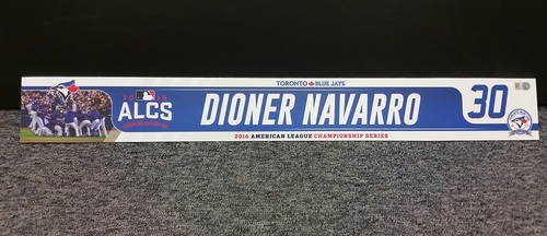 Photo of Authenticated Game Used 2016 ALCS Locker Tag - #30 Dioner Navarro