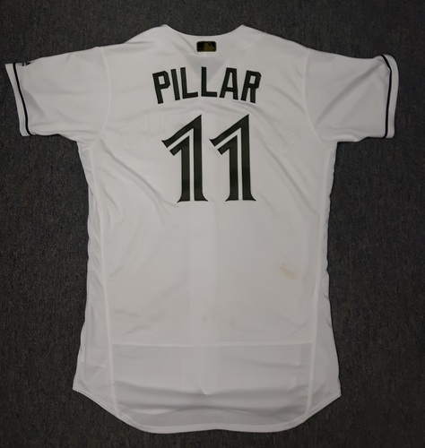 Photo of Authenticated Game Used Memorial Day Jersey - #11 Kevin Pillar. Pillar went 0-for-6 with 1 run.