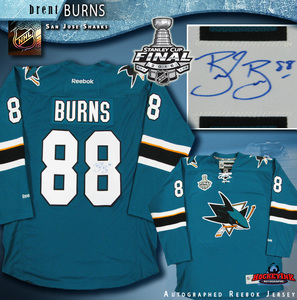 BRENT BURNS Signed San Jose Sharks Teal Reebok Jersey with 2016 Stanley Cup Final Patch