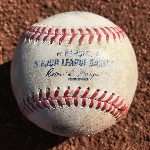 Photo of San Francisco Giants - Game-Used Baseball from Cody Bellinger's MLB Debut and 1st Hit Game - T5 Ty Blach to Cody Bellinger lineout, plus Kershaw and Hernandez