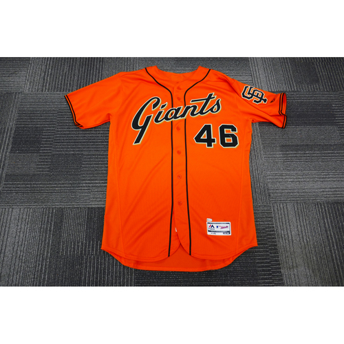 Photo of San Francisco Giants - 2017 Game-Used Orange Alt Jersey - worn by #46 Orlando Calixte on 9/29/17 - (Size: 46)
