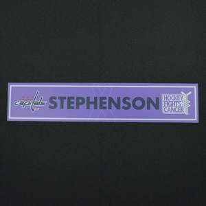 Chandler Stephenson - Washington Capitals - 2015-16 Hockey Fights Cancer Locker Room Nameplate