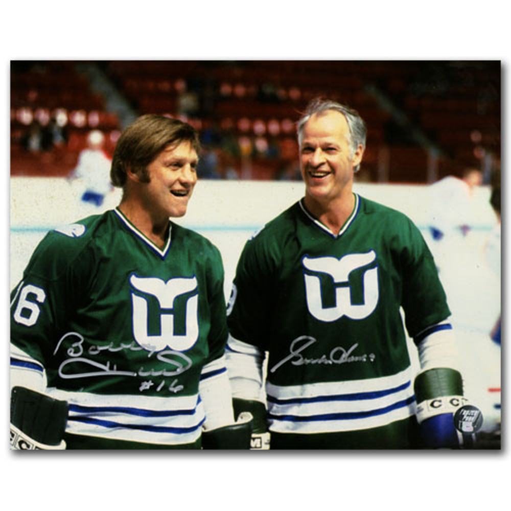Gordie Howe & Bobby Hull Autographed Hartford Whalers 8X10 Photo
