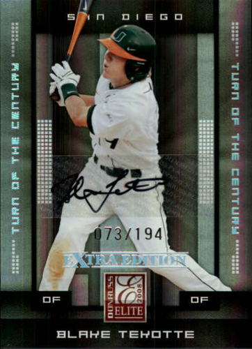 Photo of 2008 Donruss Elite Extra Edition Signature Turn of the Century #8 Blake Tekotte/194