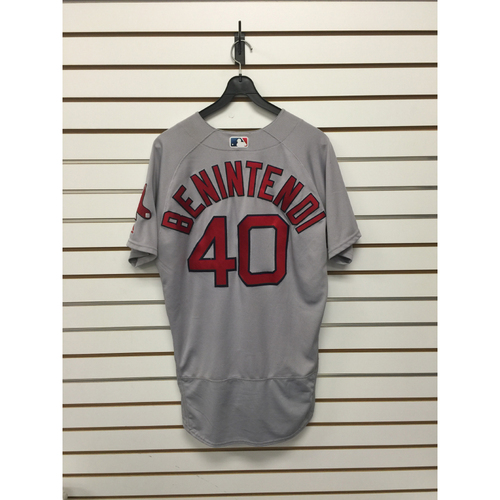 Photo of Andrew Benintendi Game-Used MLB Debut Road Jersey