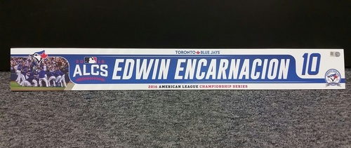 Photo of Authenticated Game Used 2016 ALCS Locker Tag - #10 Edwin Encarnacion