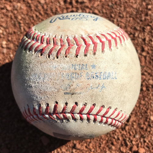 Photo of San Francisco Giants - Game-Used Baseball from Cody Bellinger's MLB Debut and 1st Hit Game - T7 Wild pitch to Cody Bellinger, also Adrian Gonzales double