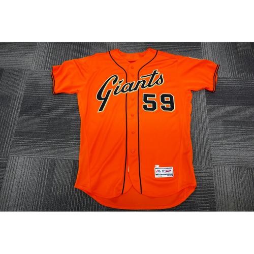 Photo of San Francisco Giants - 2017 Game-Used Orange Alt Jersey - worn by #59 Kyle Crick on 9/29/17 - 1.0 IP, 1 K - (Size: 48)