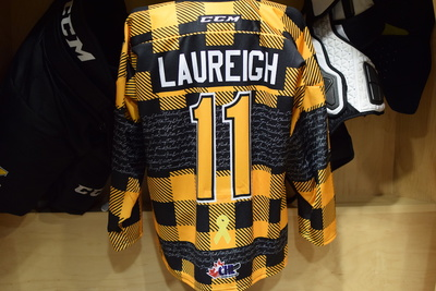 #11 Bryan Laureigh Game Issued Kingston Frontenacs Hockey Fights Cancer Plaid jersey