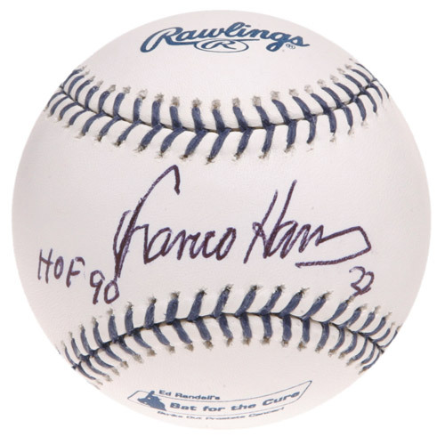 """Photo of Ed Randall's Fans For the Cure Auction: Franco Harris Autographed Inscribed """"HOF 90"""" Baseball"""