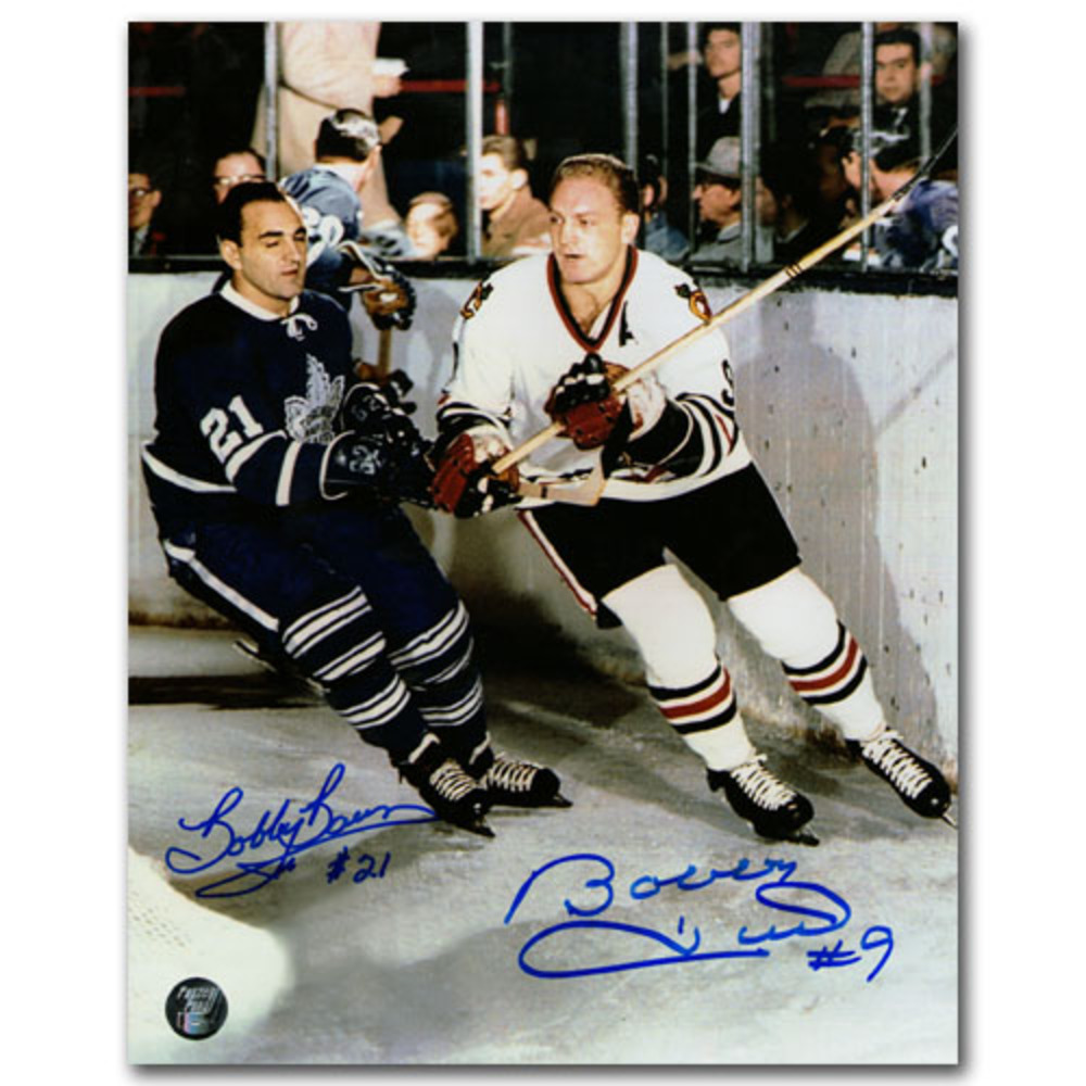 Bobby Baun & Bobby Hull Autographed 8X10 Combo Photo (Toronto Maple Leafs vs. Chicago Blackhawks)