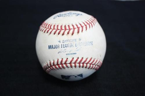Photo of Game Used Baseball from Pirates vs. Cubs on 9/13/2014 - Locke to Baez, Pitch in the Dirt