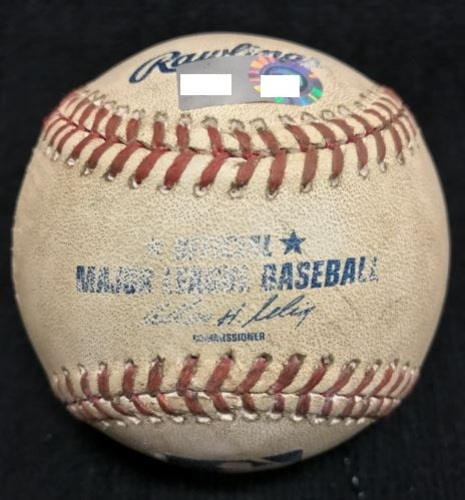 Photo of Game-Used Baseball from Pirates vs. Rangers on 9/9/2013 - Darvish to Alvarez, Pitch in the Dirt - Pirates 82nd Win of the Season