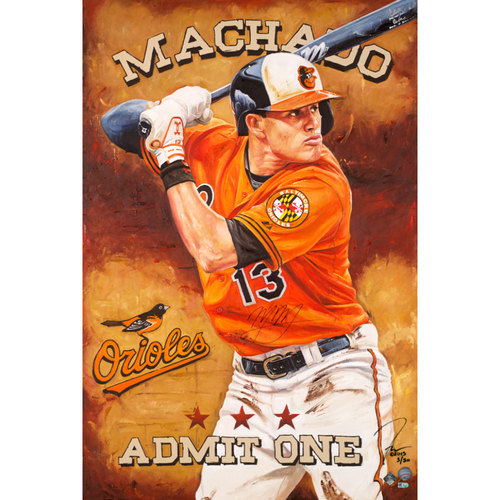 Photo of Manny Machado Baltimore Orioles Autographed Hand Embellished Artist Recreation on Canvas by Justyn Farano