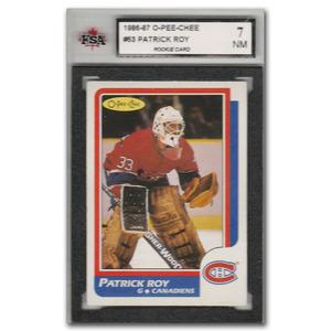 Patrick Roy Montreal Canadiens 1986-87 O-PEE-CHEE #53 Rookie Card - KSA Graded 7