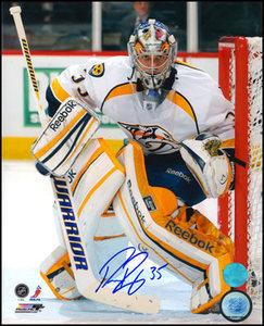 Pekka RInne Nashville Predators Autographed In Goal 8x10 Photo
