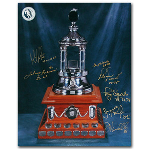 Vezina Trophy - Multi-Signed 11X14 Photo - Signed by Seven Winners