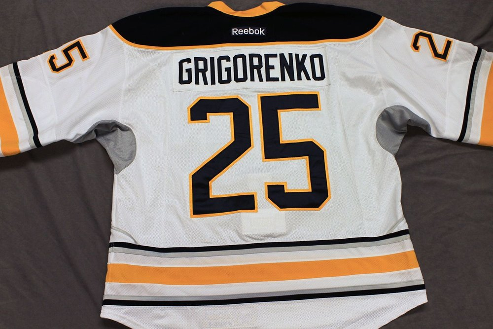 Mihail Grigorenko Game Worn Buffalo Sabres Away Jersey.  Serial: 1026-1. Set 1 - Size 56.  2013-14 season.