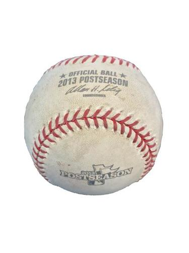 Photo of Game-Used Baseball from Pirates vs. Cardinals NLDS Game 5 on 10/9/2013 - Wainwright to Alvarez, Pitch in the Dirt