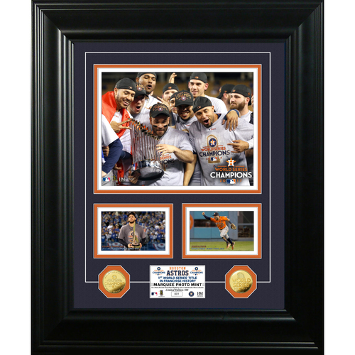 Serial #1! Houston Astros 2017 World Series Champions Marquee Gold Coin Photo Mint