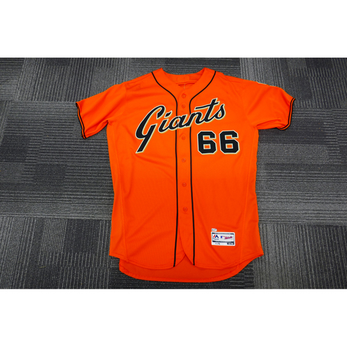 Photo of San Francisco Giants - 2017 Game-Used Orange Alt Jersey - worn by #66 Gorkys Hernandez on 9/29/17 - (Size: 48)