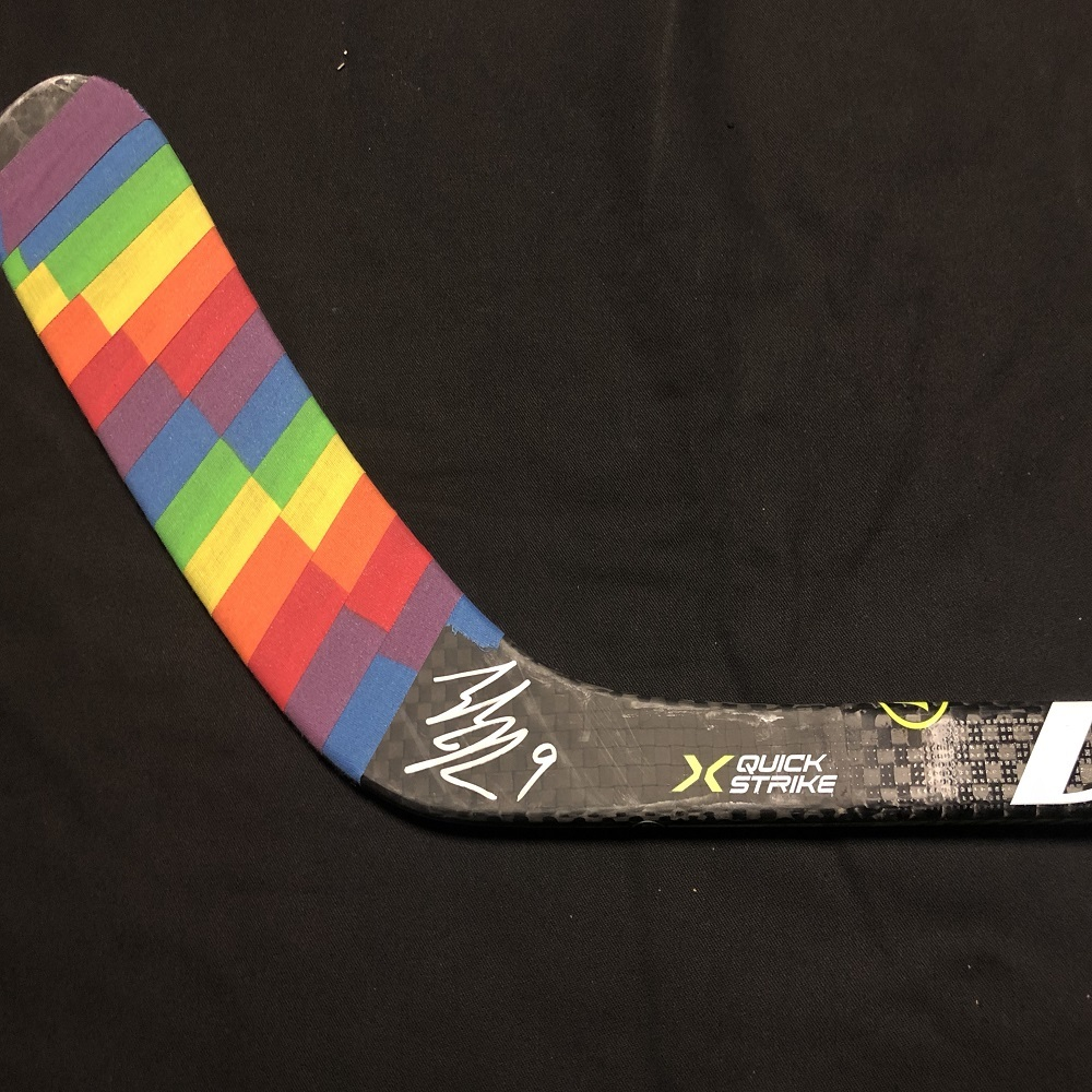 #9 Tyler Johnson Tampa Bay Lightning Pride-Taped Warm-Up Stick